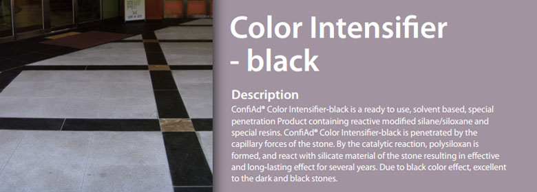 ConfiAd® Color Intensifier is a ready to use solvent based, special penetration reactive modified siloxane. It is absorbed by the pores of the stone and result s in a reaction with the siliceous of the stone. Primarily used with marble, granite, limestone, engineered stone, concrete and recommended for fine ground stone and polished stone.