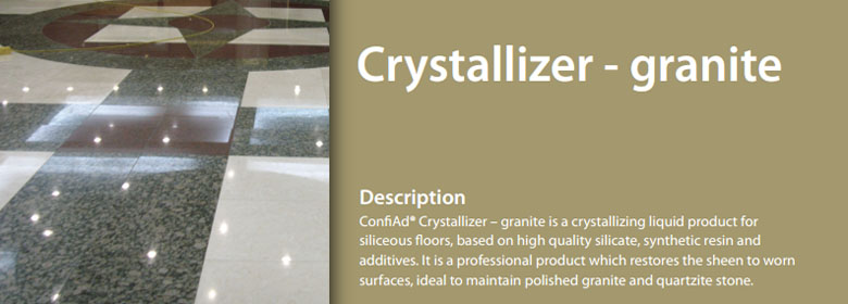 ConfiAd® Crystallizer granite is a crystallizing liquid product for siliceous floors, based on high quality silicate, synthetic resin and additives. It is a professional product which restores the sheen to worn surfaces, ideal to maintain polished granite and quartzite stone.
