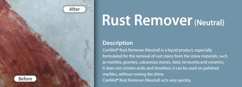 ConfiAd® Rust Remover (Neutral) is a liquid product, especially formulated for the removal of rust stains from the stone materials, such as marbles, granites, calcareous stones, slate, terracotta and ceramics. It does not contain acids and therefore, it can be used on polished marbles, without ruining the shine. Before ConfiAd® Rust Remover (Neutral) acts very quickly.