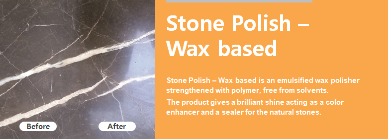 ConfiAd® Stone Polish – Wax based is an emulsified wax polisher strengthened with polymer, free from solvents. The product gives a brilliant shine acting as a color enhancer and a sealer for the natural stones.