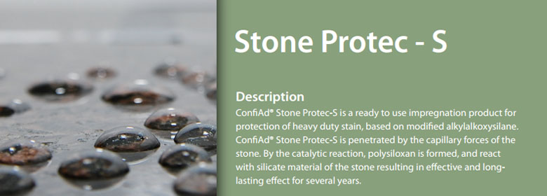 ConfiAd® Stone Protec-S is a ready to use impregnation product for protection of heavy duty stain, based on modified alkylalkoxysilane. ConfiAd® Stone Protec-S is penetrated by the capillary forces of the stone. By the catalytic reaction, polysiloxan is formed, and react with silicate material of the stone resulting in effective and long-lasting effect for several years.
